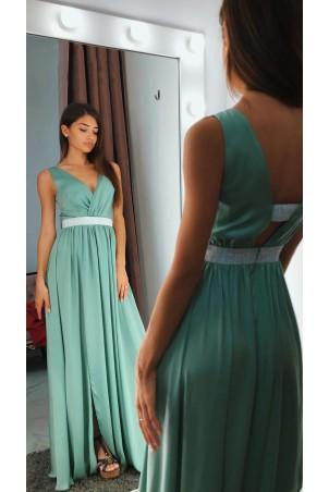 Długa sukienka wieczorowa ze srebrnym pasem Olivia - zielona