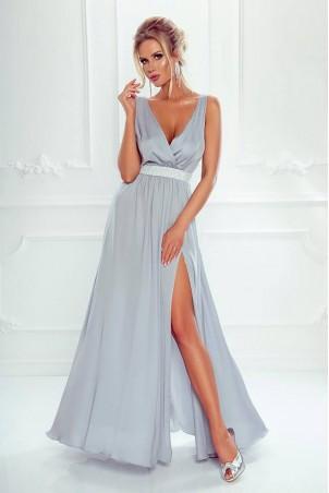 Długa sukienka wieczorowa ze srebrnym pasem Olivia - szara