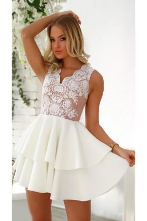 Rozkloszowana sukienka dwie falbany Lisa - biało-beżowa