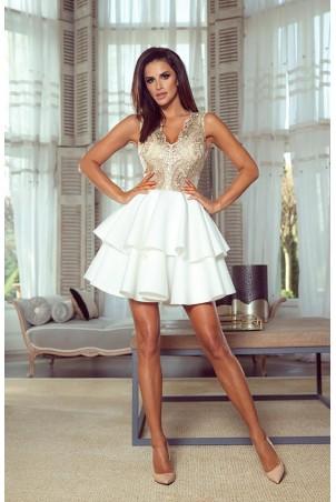 Rozkloszowana sukienka dwie falbany Lisa - biało-złota