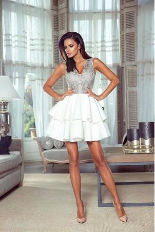 Rozkloszowana sukienka dwie falbany Lisa - biało-srebrna