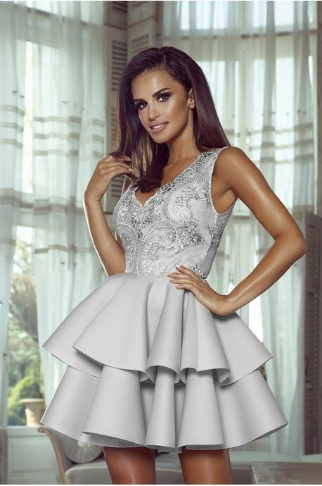 Rozkloszowana sukienka dwie falbany Lisa - szary