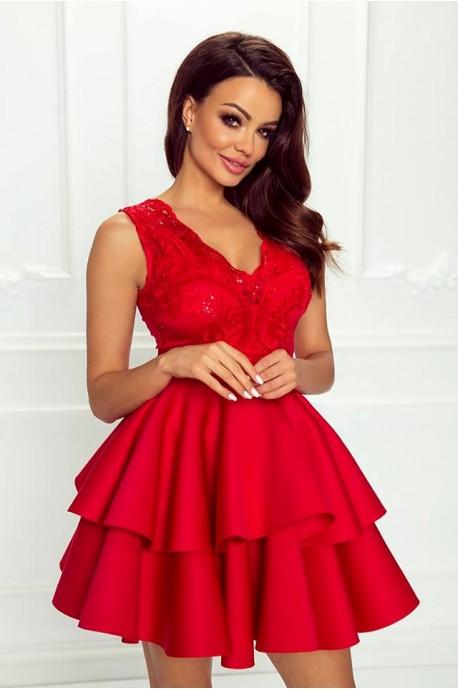 Rozkloszowana sukienka dwie falbany Lisa - czerwona