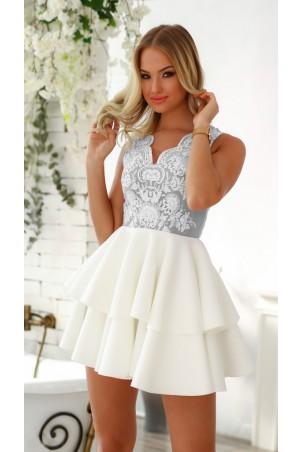 Rozkloszowana sukienka dwie falbany Lisa - biało-szara