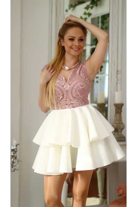 Rozkloszowana sukienka dwie falbany Lisa - biały/brudny róż