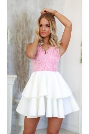 Rozkloszowana sukienka dwie falbany Lisa - biały/cukierkowy róż