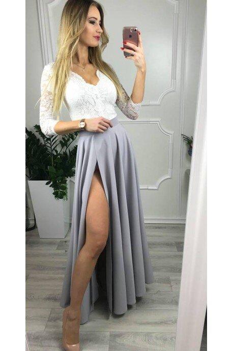 Sukienka wieczorowa Margaret - biało-szara