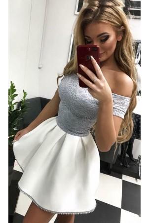 Sukienka wieczorowa Śnieżka z piankowym dołem - szara