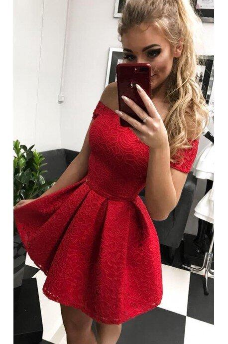 Sukienka koronkowa Scarlett II z krótkim rękawem - czerwona