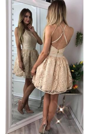 Koronkowa sukienka bez pleców Zoe - złota