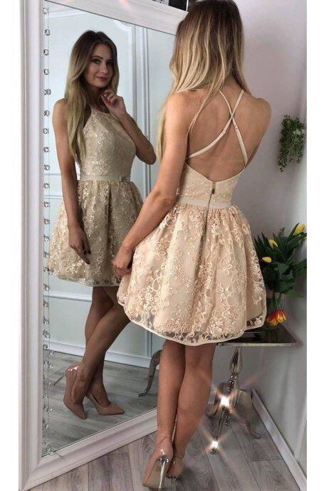 4067e56221 Koronkowa sukienka bez pleców Zoe - złota - Pretty Clever Sklep ...