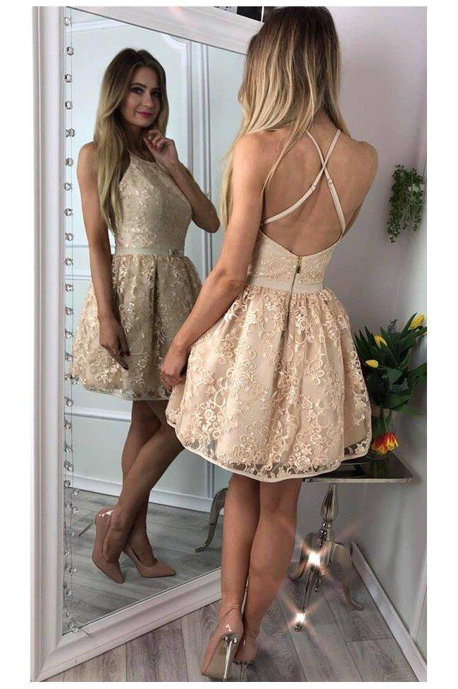 27ad7ad54a Koronkowa sukienka bez pleców Zoe - złota - Pretty Clever Sklep ...