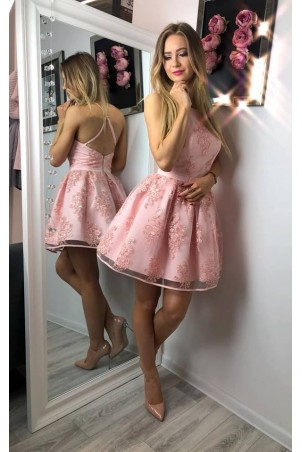 Koronkowa sukienka bez pleców Zoe - różowa