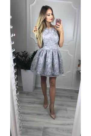 Koronkowa sukienka bez pleców Zoe - szara