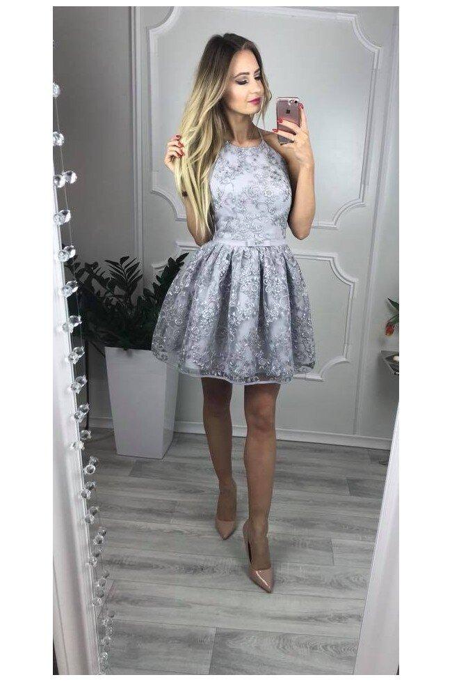 99945e055d Koronkowa sukienka bez pleców Zoe - szara - Pretty Clever Sklep ...