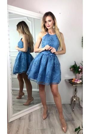 Koronkowa sukienka bez pleców Zoe - niebieska