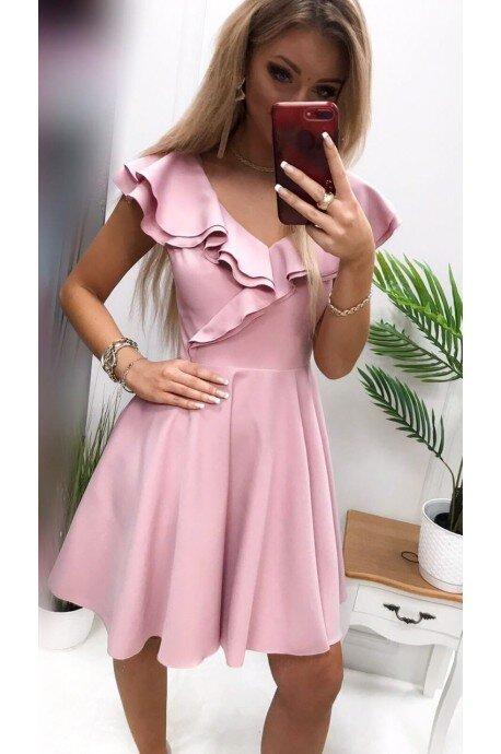 Sukienka koktajlowa z falbankami Fiona - różowa