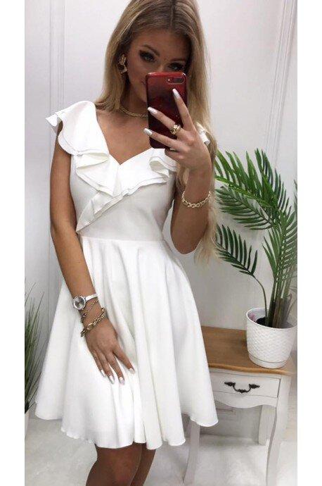 Sukienka koktajlowa z falbankami Fiona - ecru