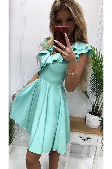 Sukienka koktajlowa z falbankami Fiona - miętowa