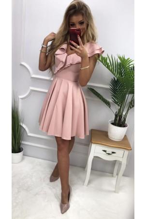 Sukienka koktajlowa z falbankami Fiona - pudrowy róż