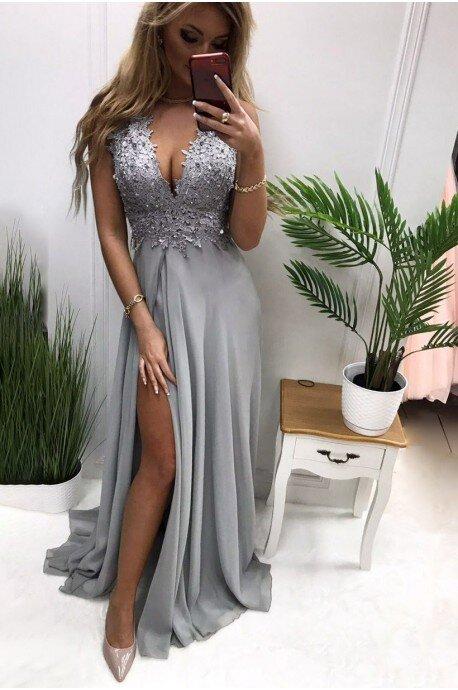Długa suknia wieczorowa z ozdobnym gorsetem Tiffany - szara