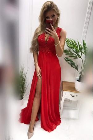 Długa suknia wieczorowa z ozdobnym gorsetem Tiffany - czerwona