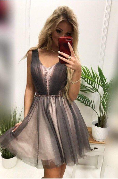 Tiulowa rozkloszowana sukienka Yasmin - różowo-szara