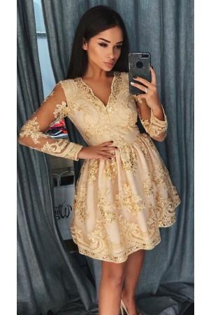 Rozkloszowana koronkowa sukienka z długim rękawem Eva - ciemny beż