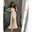 Długa koronkowa sukienka z długim rękawem Ophelia - beżowa