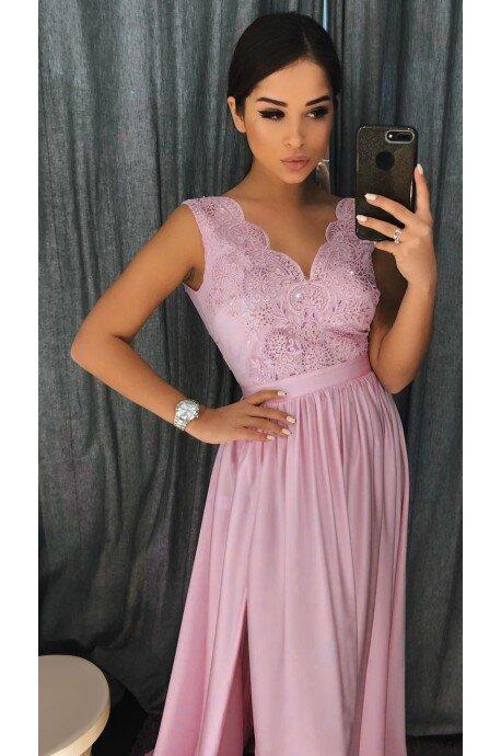 Długa sukienka na wesele z koronkową górą Julia - lila róż