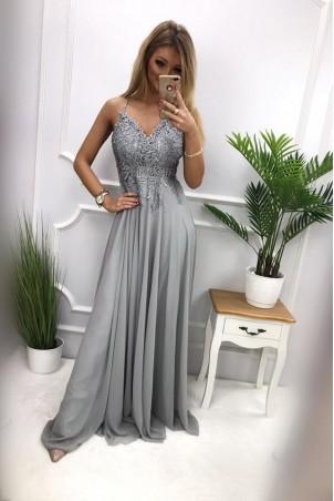 Długa suknia wieczorowa na cienkich ramiączkach Audrey - szara