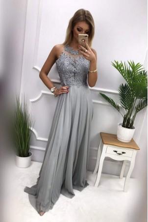 Długa suknia wieczorowa z ozdobnym gorsetem Marylin - szara