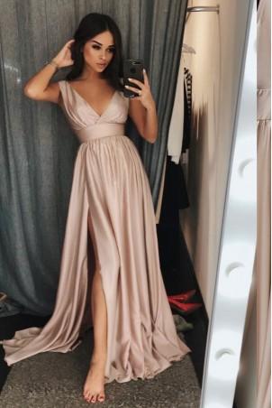 Długa klasyczna suknia z głębokim dekoltem Wendy - beżowa