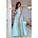 Długa suknia wieczorowa z głębokim dekoltem Wendy - błękitna