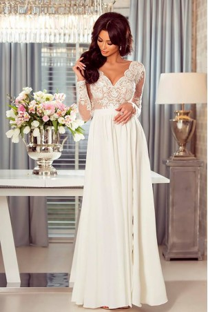 bb919f36a6 Długa koronkowa sukienka Ophelia - nude - Pretty Clever Sklep ...