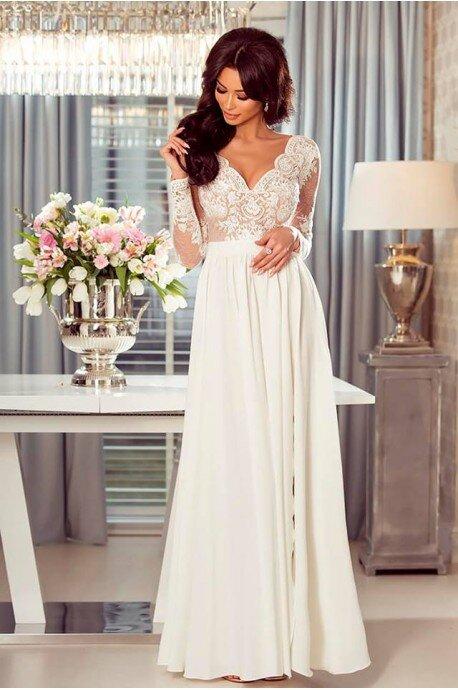 Długa koronkowa sukienka Ophelia - biało-beżowa