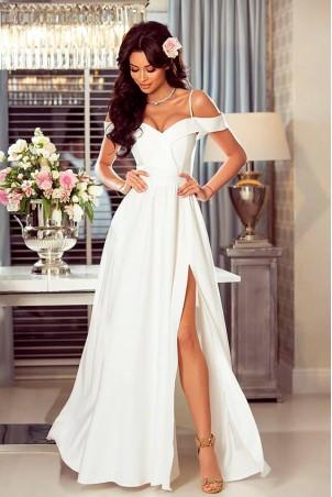 Długa suknia wieczorowa bez ramion Sandy - biała