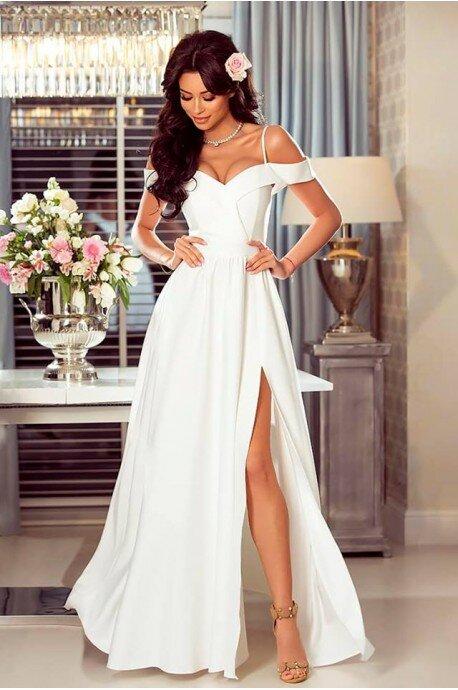 d45efae1b1 Długa suknia wieczorowa bez ramion Sandy - biała - Pretty Clever ...