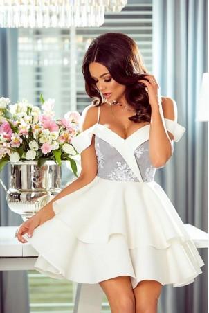 Rozkloszowana sukienka z dwoma falbanami Amanda - biało-szara
