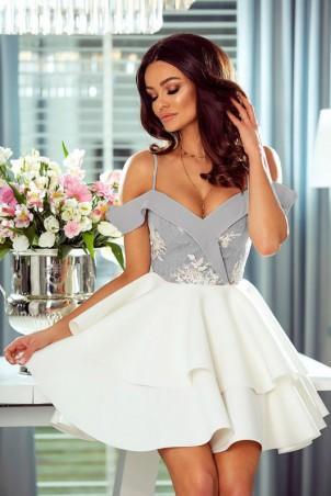 Rozkloszowana sukienka z dwoma falbanami Amanda - biało-szara II