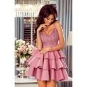 Rozkloszowana sukienka z trzema falbanami Afrodyta - różowa
