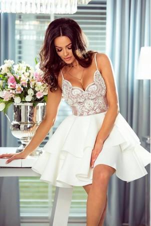 Koronkowa sukienka z piankową spódnicą Janet - biało-różowa