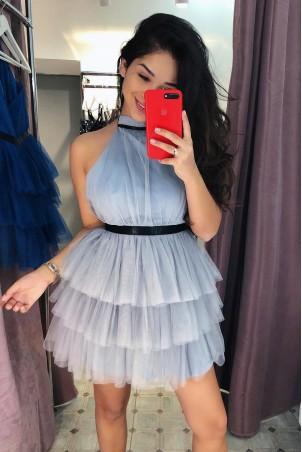 Tiulowa sukienka bez pleców Nicole - szara