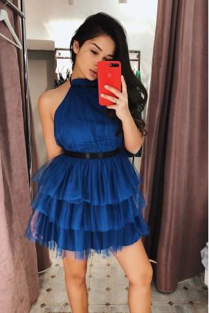 Tiulowa sukienka bez pleców Nicole - chabrowy