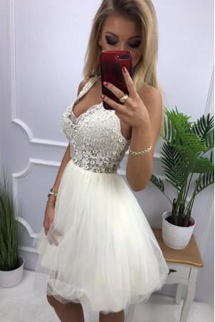Tiulowa sukienka z gipiurą Kelly - ecru