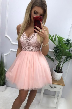 Tiulowa sukienka z gipiurą Kelly - różowa