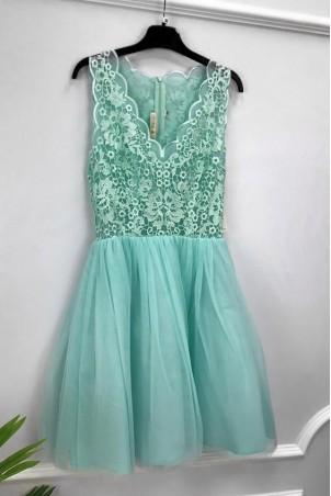 Tiulowa sukienka z gipiurą Kelly - miętowa