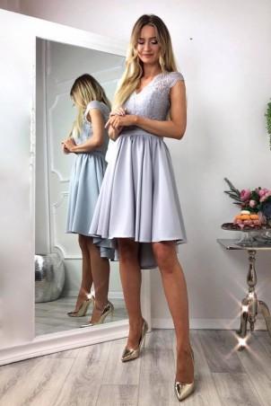 Asymetryczna sukienka z koronkową górą Molly - szara