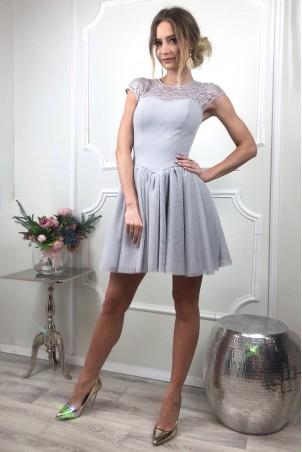 Tiulowo-koronkowa sukienka Sylwia - szara