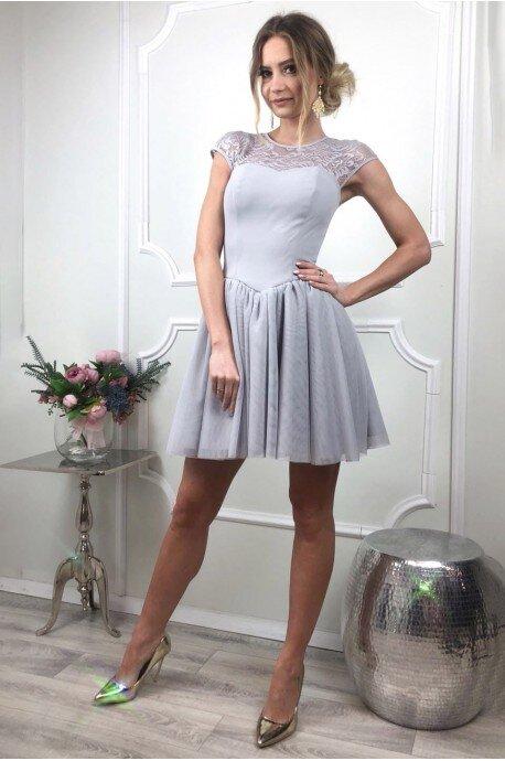 3a8d0cd36e Tiulowo-koronkowa sukienka Sylwia - szara - Pretty Clever Sklep ...